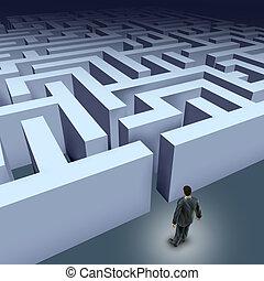 affari, labirinto, sfida