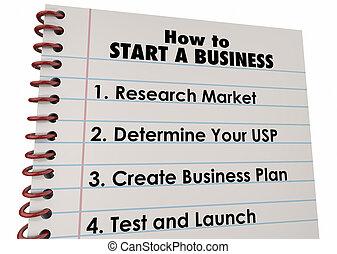 affari, lancio, ditta, elenco, illustrazione, come, inizio, 3d