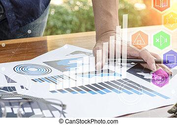 affari, lavorativo, concept., moderno, mano, computer, uomo affari, nuovo, strategia