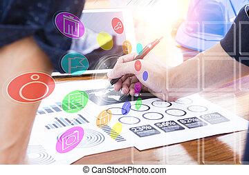 affari, lavorativo, concetto, moderno, mano,  computer, uomo affari, nuovo, strategia