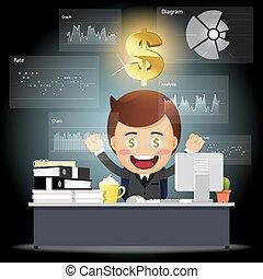 affari, lavorativo, elaborazione, computer, uomo, dati, felice