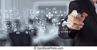affari, lavorativo, moderno, mano, s, computer, uomo affari,...
