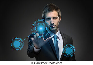 affari, lavorativo, moderno, virtuale, tecnologia, uomo