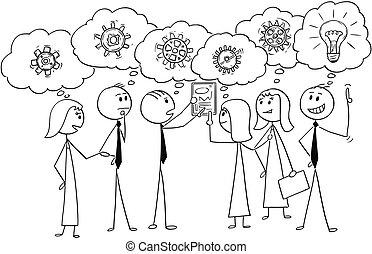 affari, lavorativo, soluzione, insieme, cartone animato, squadra, problema, trovare