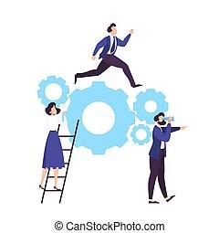 affari, lavoro, idea, insieme., cooperazione, squadra
