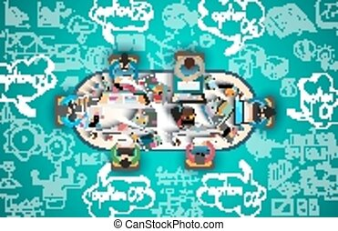 affari, lavoro squadra, doodles, infographics, schizzo, background: