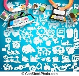 affari, lavoro squadra, fondo, infographics, schizzo, doodles