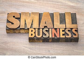affari, letterpress, tipo, legno, piccolo, bandiera