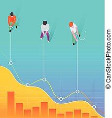 affari, linea, lavoro, concept., chart., tirare, uomini, squadra