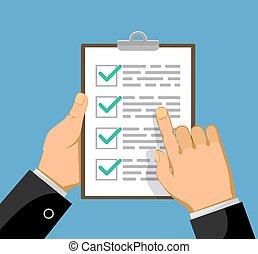affari, lista, o, verde, piano, contrassegni, uomo affari, assegno, mostra