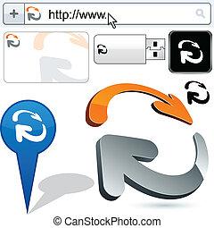 affari, logotipo, frecce, 3d, design.
