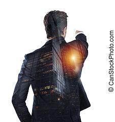 affari, lontano, opportunities., uomo affari, occhiate, doppio, nuovo, esposizione