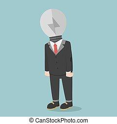 affari, luce, cattivo, idea, lampada, uomo