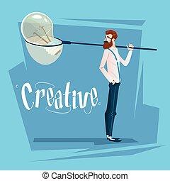 affari, luce, idea, creativo, nuovo, bulbo, uomo