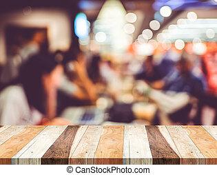 affari, luce, sfocato, fondo., legno, tavola, caffè, presentazione, vuoto