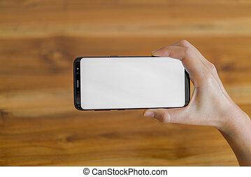 affari, mano, con, telefono mobile, .