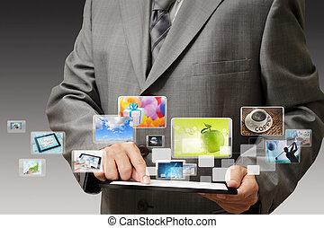 affari, mano, mostra, schermo tocco, telefono mobile, con, flusso continuo, immagini