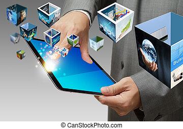 affari, mano, mostra, schermo tocco, telefono mobile, con,...