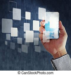 affari, mano, presa, schermo tocco, telefono mobile, e, bottoni