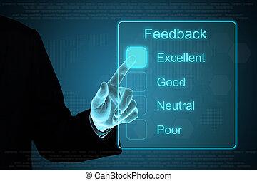 affari, mano, scattare, feedback, su, schermo tocco