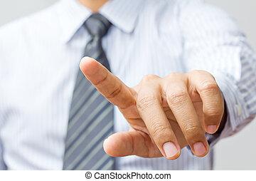 affari, mano, schermo tocco, interfaccia