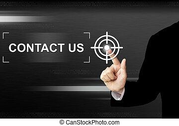 affari, mano, spinta, contattarci, bottone, su, schermo tocco