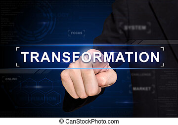affari, mano, spinta, trasformazione, bottone, su, virtuale, schermo