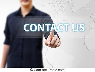 affari, mano, tocco, contattarci