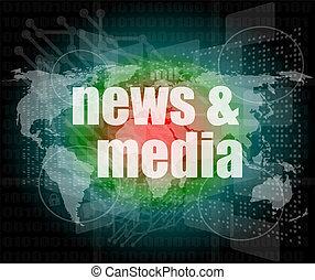 affari, media, schermo, parole, digitale, premere, notizie, concept: