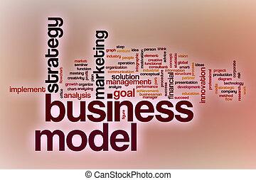 affari, mete, parola, nuvola, con, astratto, fondo