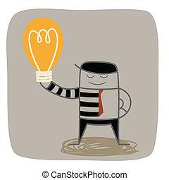 affari, mezzo, idea, ladro, altri, rubare, uomo