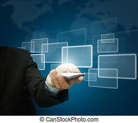 affari, mobile, schermo, mano, telefono, tocco, presa