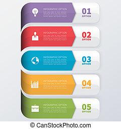 affari moderni, infographics, opzioni, banner.