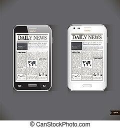 affari, moderno, telefono, articolo, notizie, far male
