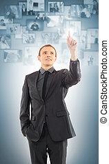 affari, moderno, virtuale, Bottoni, urgente, fondo, Immagini, uomo affari