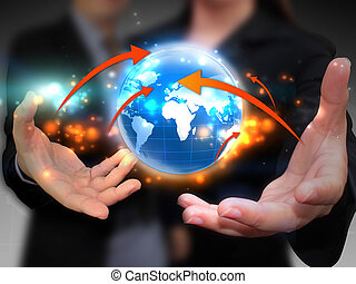 affari mondo, presa a terra, persone