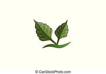 affari, natura, salute, mette foglie, logotipo, scheda