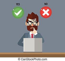affari, opti, confuso, scegliere, uomo