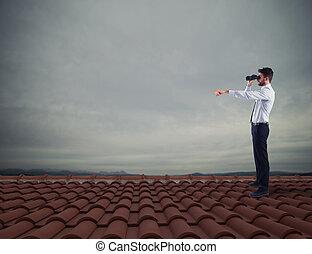 affari, orizzonte, opportunità, uomo affari, searchs, nuovo