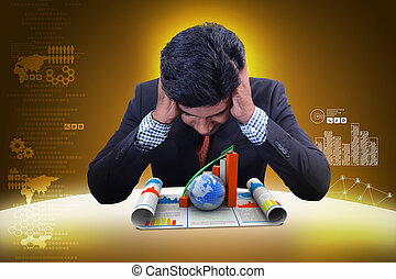 affari, osservare, grafico, globo, crescita, uomo