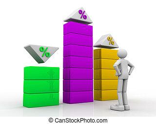 affari, osservare, grafico, percento, persona, 3d