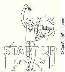 affari, ottenere, scarabocchiare, su, idea, inizio, uomo