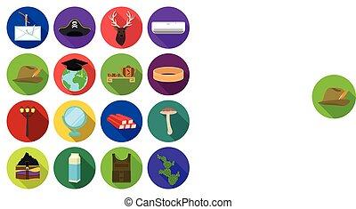 affari, ozio, turismo, e, altro, web, icona, in, appartamento, style.cactus, natura, ecologia, icone, in, set, collection.