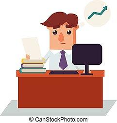 affari, pensare, carattere, illustrazione, vettore, cartone animato, uomo