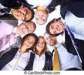affari persone, angolo, basso, vista, standing, gruppo, accalcarsi, sorridente