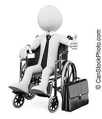 affari, persone., handicappato, uomo affari, bianco, 3d