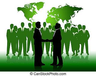 affari, persone lavorare, insieme, uomini affari, mostra
