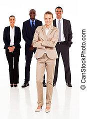 affari persone, lunghezza, pieno, gruppo