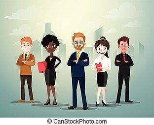 affari persone, miscelare, illustrazione, fondo, vettore, standing, città, gruppo, ethnic., fronte