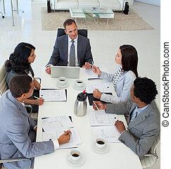 affari persone, piano, discutere, alto, ufficio, angolo